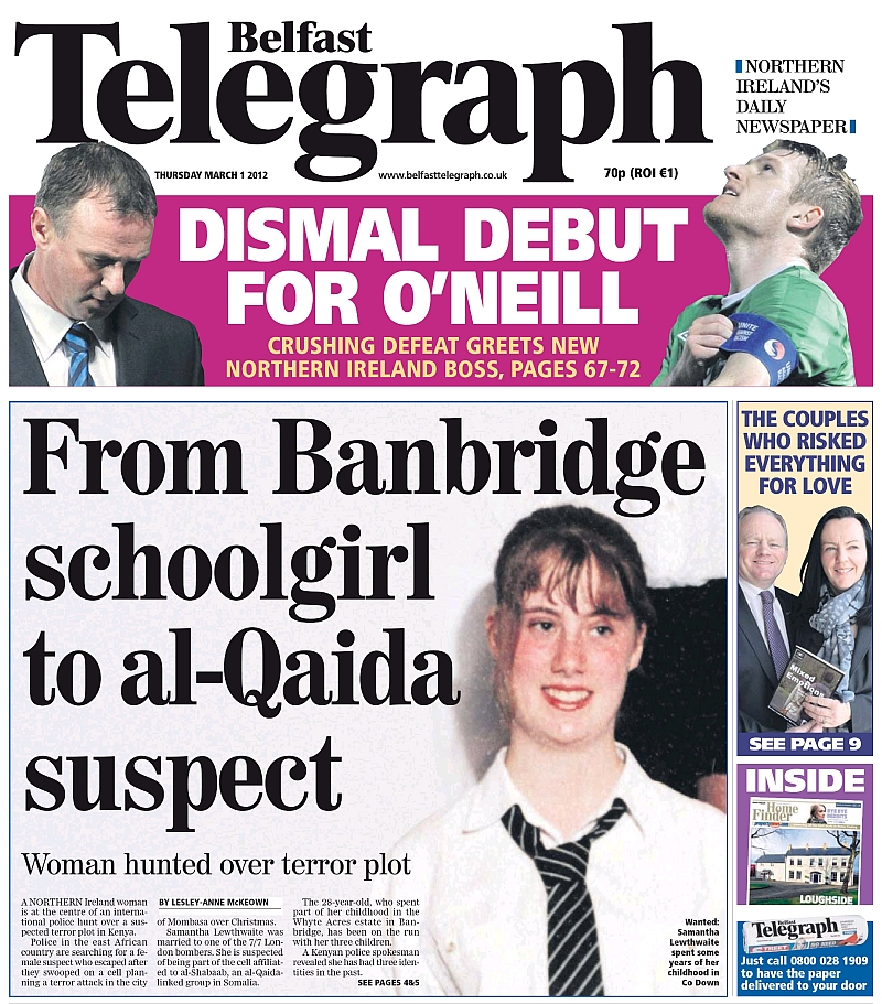 Belfast Telegraph, 1 March 2012